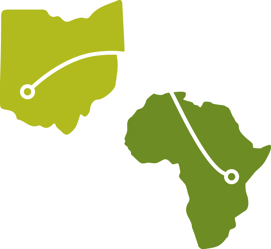 Map graphic showing connection from Ohio (USA) to Africa
